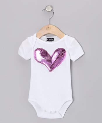White Sequin Heart Bodysuit - Infant