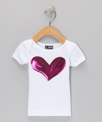 White & Fuchsia Sequin Heart Lap-Neck Tee - Infant