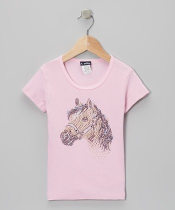 Pink Rhinestone Horse Tee - Toddler & Girls
