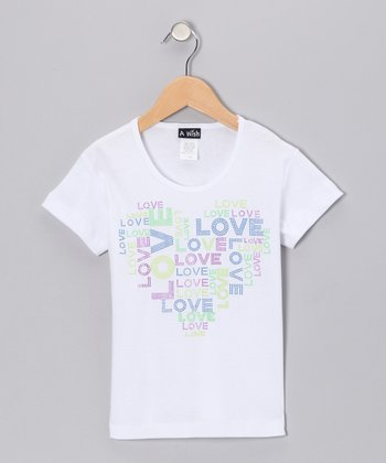 White 'Love' Heart Tee - Toddler & Girls