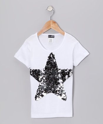 White Sequin Star Tee - Toddler & Kids