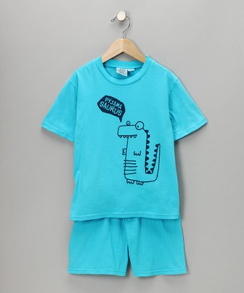 Turquoise Sleepy Dino Tee & Shorts - Kids