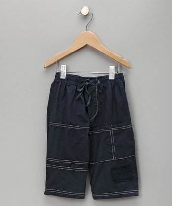Navy Wave Shorts - Infant & Toddler