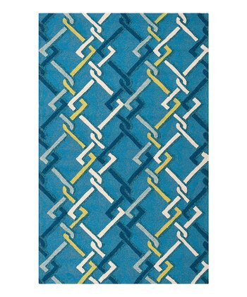 Blue & Fern Green Rain Rug