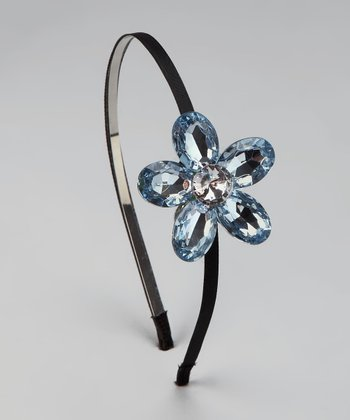 Light Blue Jewel Flower Headband