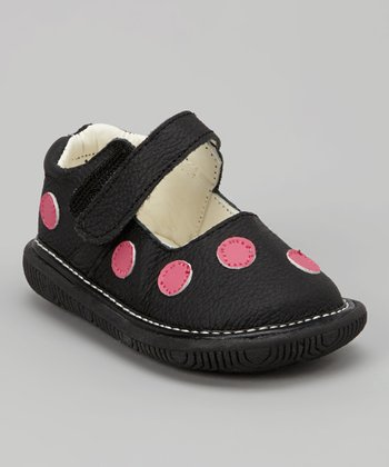 Black & Pink Polka Dot Squeaker Mary Jane