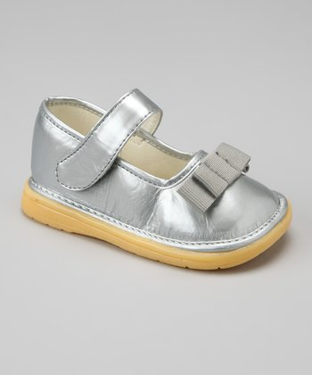 Silver Shimmer Bow Mary Jane