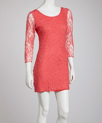 Coral Lace Scoop Neck Dress - Women