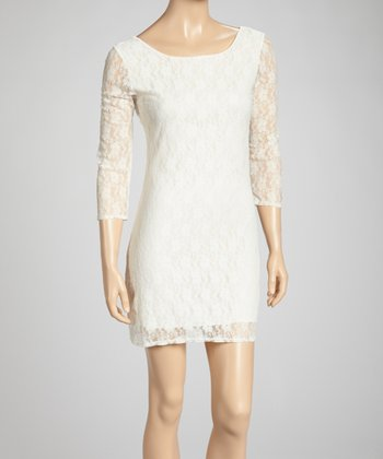 Ivory Lace Scoop Neck Dress - Women