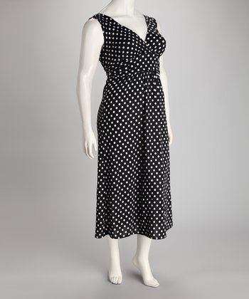 Black Polka Dot Plus-Size Maxi Dress