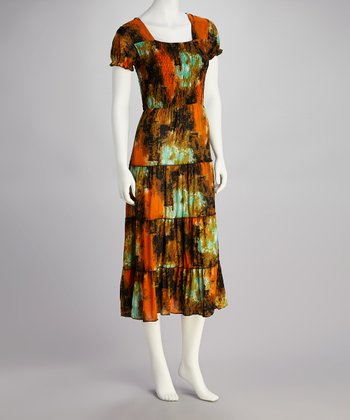 Rust & Aqua Abstract Print Dress