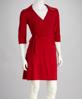Red Tie-Waist Surplice Dress