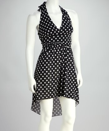 Black & White Polka Dot Halter Dress