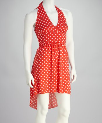 Coral & White Polka Dot Halter Dress