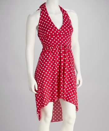 Fuchsia & White Polka Dot Halter Dress