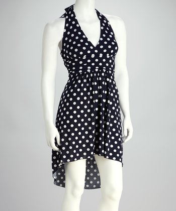 Navy & White Polka Dot Halter Dress