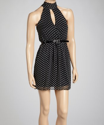 Black & White Polka Dot Keyhole Dress