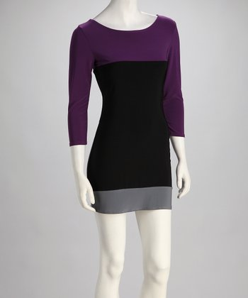 Purple & Gray Color Block Dress