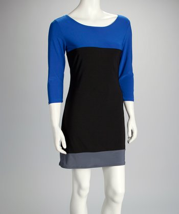 Blue & Charcoal Color Block Dress