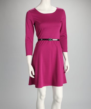 Magenta Belted Dress