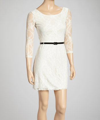 Ivory Lace-Sleeve Belted Dress
