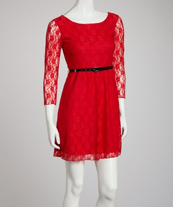 Red Lace-Sleeve Belted Dress