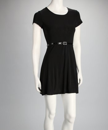 Black Belted Cutout Dress
