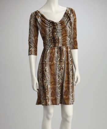Taupe Snakeskin Drape Dress