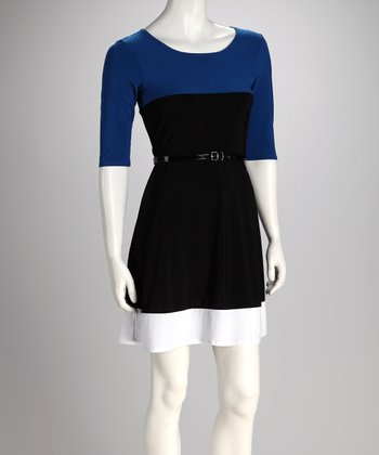 Royal Blue Belted Color Block Dress