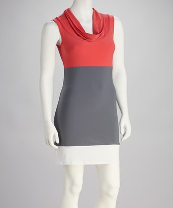 Coral & Gray Color Block Cowl Neck Dress