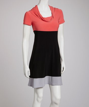 Orange & Black Color Block Cowl Neck Dress