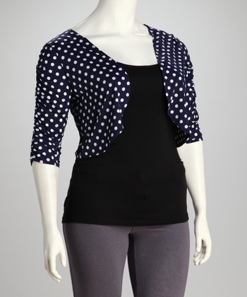 Navy & White Polka Dot Bolero - Plus