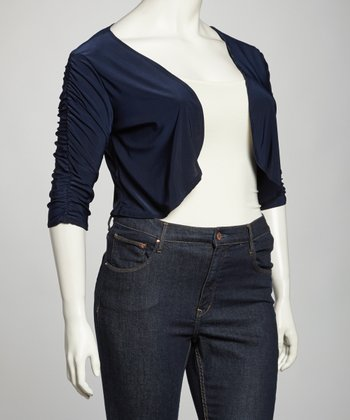 Navy Ruched Open Cardigan - Plus