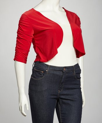 Red Ruched Open Cardigan - Plus