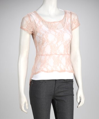 Champagne Sheer Lace Top