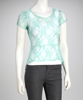 Mint Sheer Lace Top