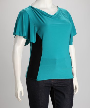 Jade & Black Color Block Top - Plus