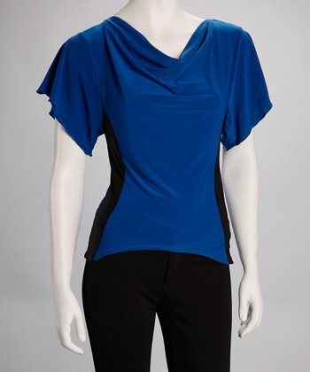 Royal Blue & Black Drape Neck Top
