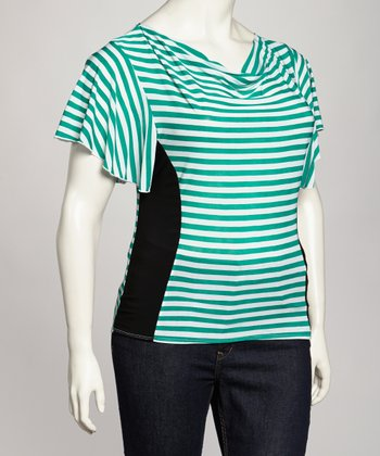 Green & White Stripe Plus-Size Drape Top
