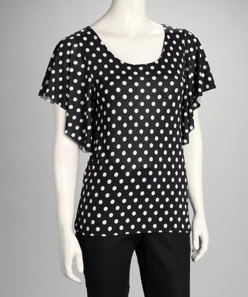 Black Polka Dot Angel-Sleeve Top