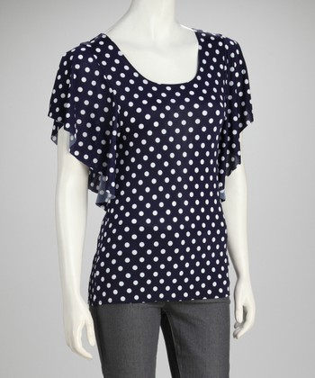 Navy & White Polka Dot Angel-Sleeve Top