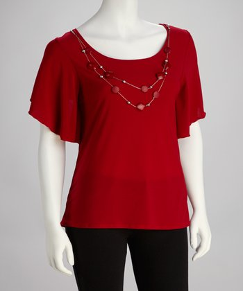 Red & Silver Necklace Cape-Sleeve Top