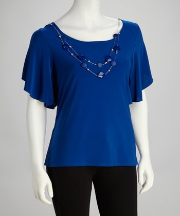 Royal Blue & Silver Necklace Cape-Sleeve Top