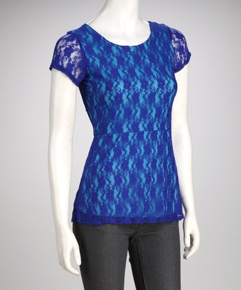 Royal Blue & Turquoise Lace Top