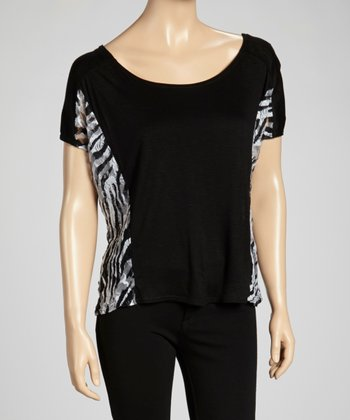 Black & White Zebra Color Block Top