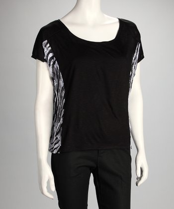 Black & Zebra Color Block Top
