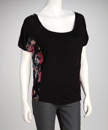Black & Pink Floral Lace Top