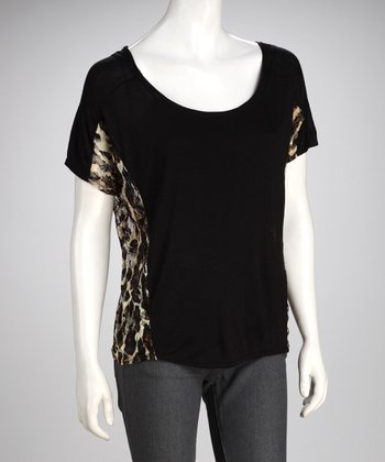 Black Leopard Lace Top