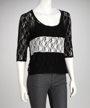Black & Ivory Stripe Sheer Lace Top