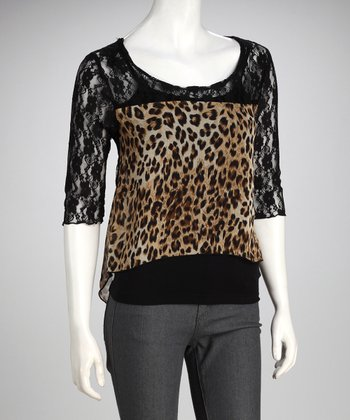 Black & Leopard Shirttail Top